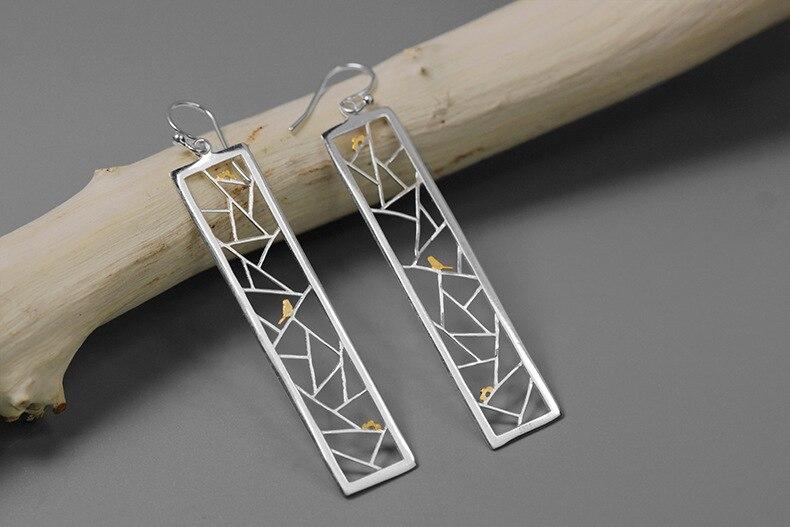 INATURE 925 Sterling Silver Fashion Minimalist Bird on Window Drop Earrings for Women Sterling Silver Jewelry