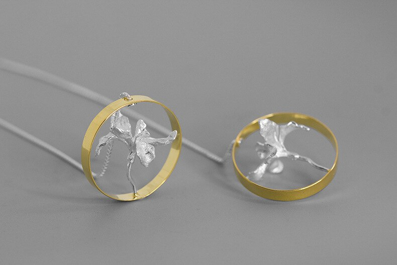 INATURE 925 Sterling Silver Iris Flower Big Circle Drop Earrings for Women Jewelry