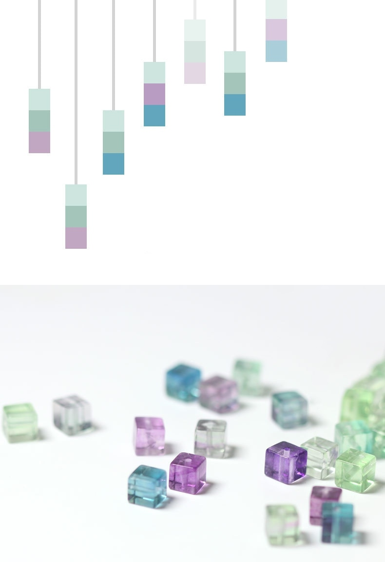 INATURE 925 Sterling Silver Natural Square Fluorite Stone Drop Earrings for Women Fashion Jewelry