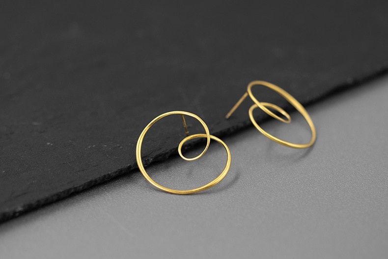 INATURE 18K Gold Plated Sterling Silver Round Spiral Twisted Stud Earrings for Women Statement Jewelry