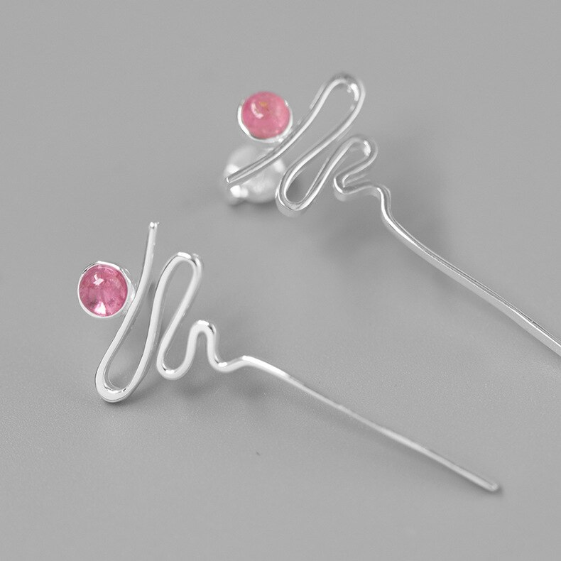 INATURE 925 Sterling Silver Natural Tourmaline Curve Design Fashion Stud Earrings for Women Modern Female Jewelry