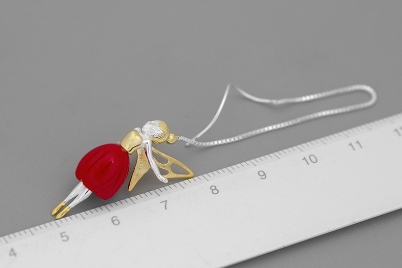INATURE 925 Sterling Silver Red Coral Flower Fairy Long Drop Earrings for Women Fashion Jewelry Gift