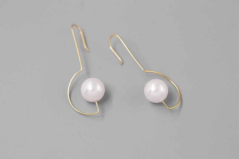 INATURE 925 Sterling Silver Natural Pearl Geometric Moon Drop Earrings For Women Fashion Statement  Jewelry