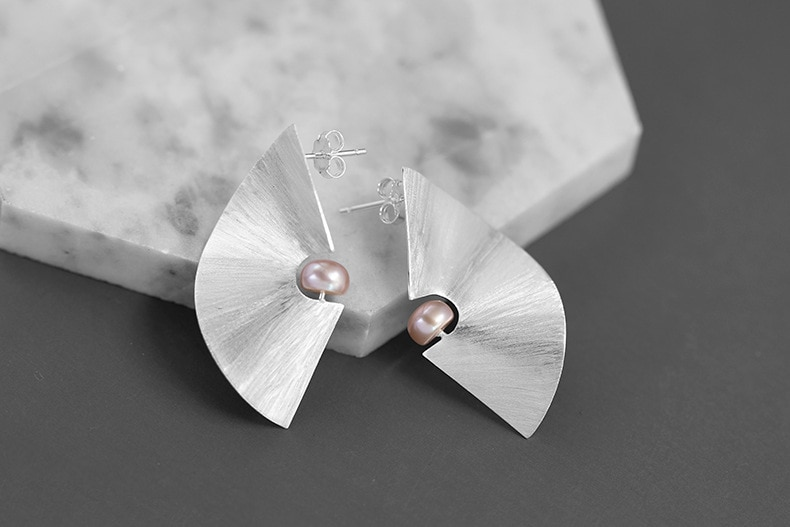 INATURE 925 Sterling Silver Fashion Statement Big Geometric Stud Earrings For Women Modern Jewelry