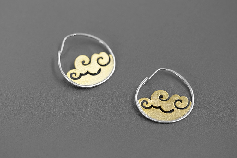 INATURE Elegance 925 Sterling Silver Wave Drop Earrings for Women Party Jewelry Gift