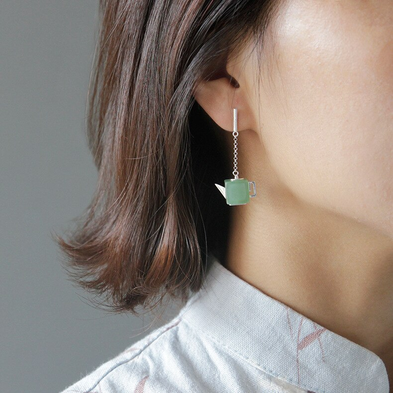 INATURE 925 Sterling Silver Green Aventurine Square Teapot Drop Dangle Earrings for Women Jewelry Brincos Bijoux Gift
