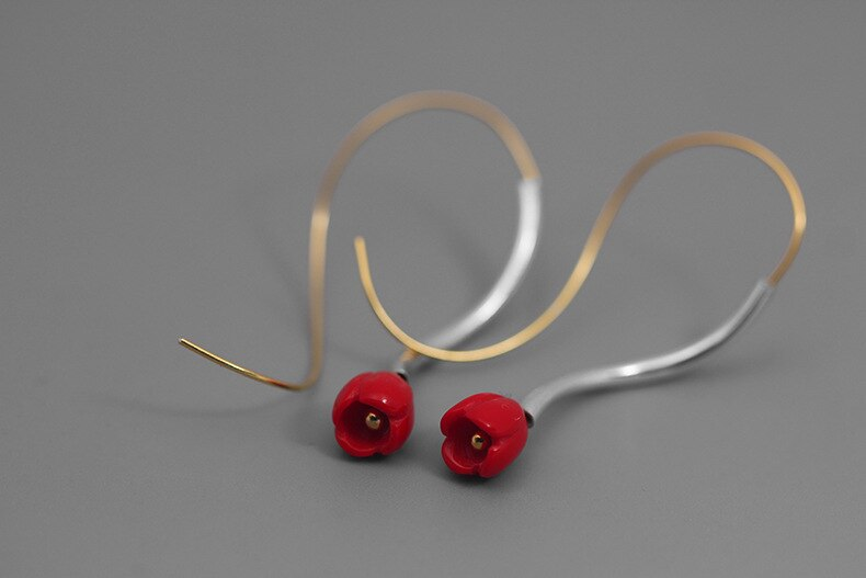 INATURE 925 Sterling Silver Personality Red Coral Flower Stud Earrings for Women Fashion Jewelry Bijoux