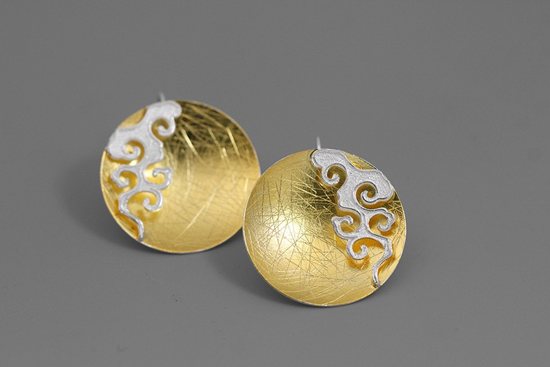 INATURE 925 Sterling Silver Fashion Statement Cloud Round Stud Earrings for Women Modern Jewelry