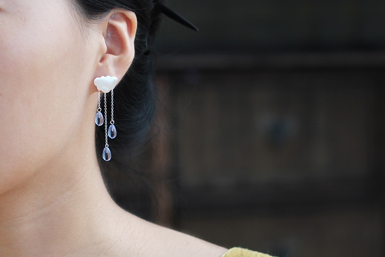 INATURE 925 Sterling Silver Fashion Cloud Shape Blue Crystal Tassel Drop Earrings for Women Jewelry
