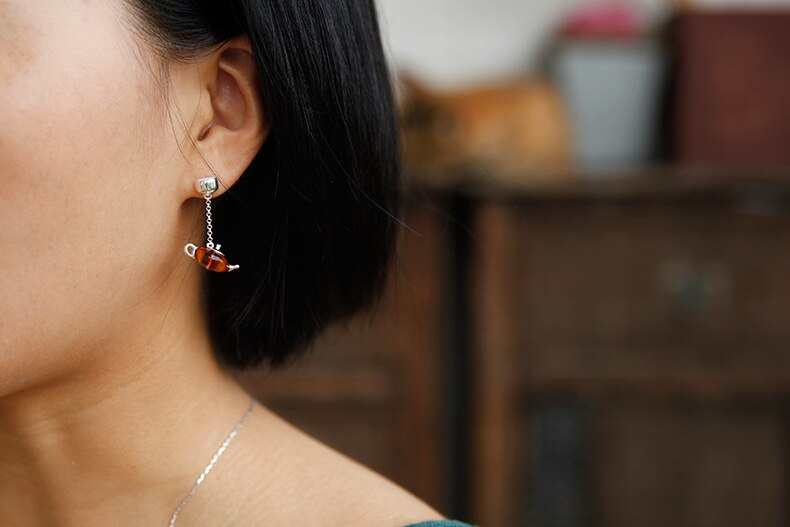 INATURE Natural Amber Teapot Drop Earrings for Women 925 Sterling Silver Jewelry
