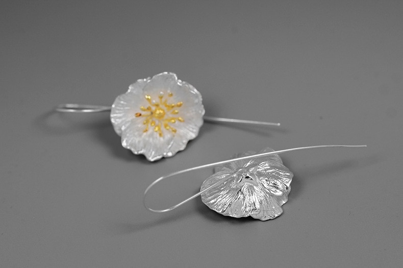 INATURE 925 Sterling Silver Big Poppy Flower Drop Earrings for Women Fashion Jewelry Gift