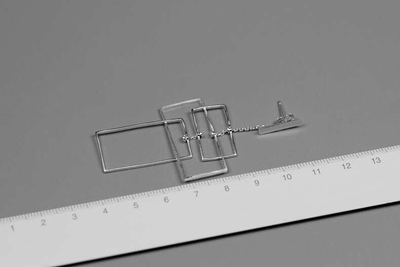 INATURE 925 Sterling Silver Punk Geometric Rectangle Drop Earrings for Women Party Jewelry Brincos