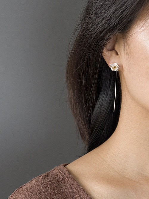 INATURE 925 Sterling Silver Fashion Camellia Flower Long Drop Dangle Earrings For Women Jewelry