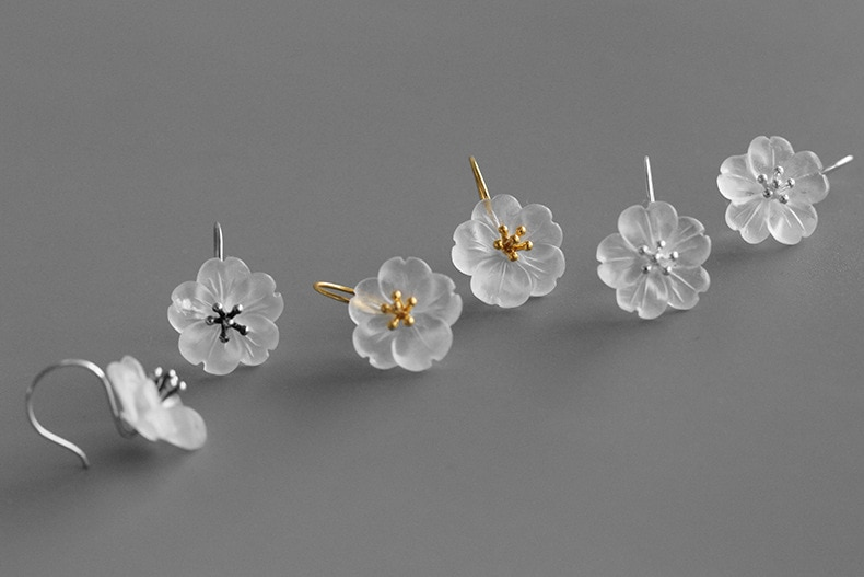 INATURE 925 Sterling Silver Natural Crystal Flower Drop Earrings for Women Fashion Dangle Earring Jewelry