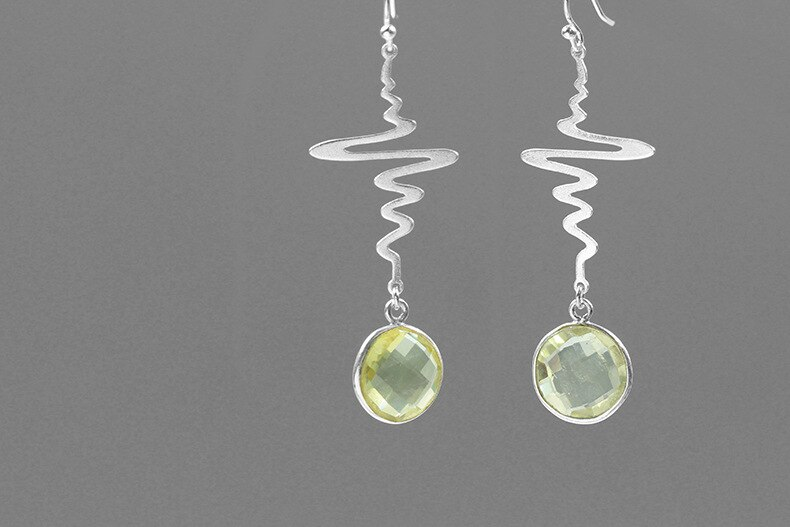 INATURE 925 Sterling Silver Fashion Curve Geometric Design Natural Lemon Crystal Drop Earrings for Women Wedding Jewelry