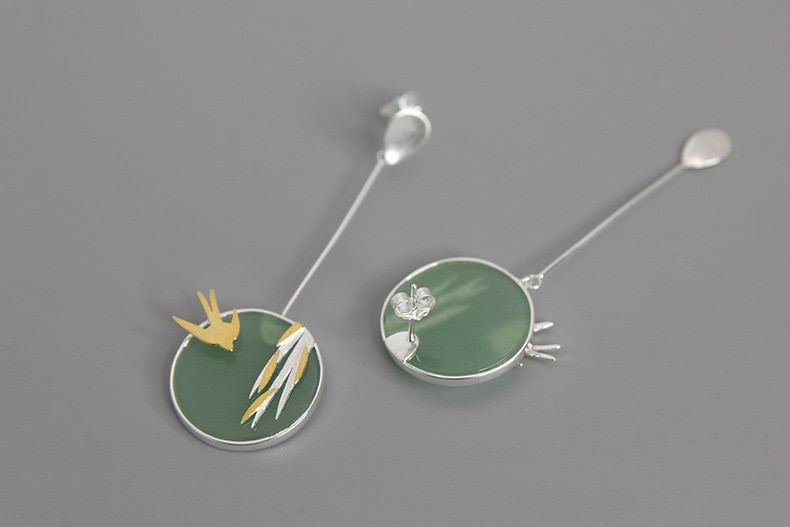 INATURE 925 Sterling Silver Aventurine Flying Swallow Drop Earrings For Women Fashion Animal Jewelry Gift