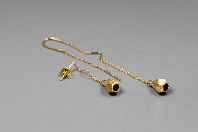 INATURE 925 Sterling Silver Punk Bulb Geometric Asymmetric Drop Earrings for Women Fashion Jewelry Gift