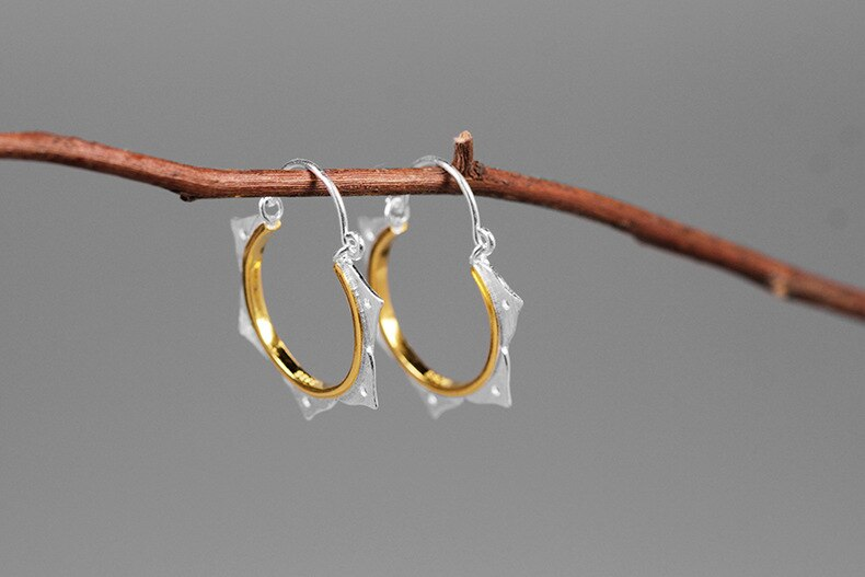 INATURE 925 Sterling Silver Lotus Flower Drop Earrings Yoga Jewelry