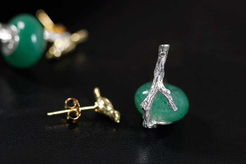 INATURE 925 Sterling Silver Natural Aventurine Cute Drinking Bird Drop Earrings for Women Fashion Animal Jewelry