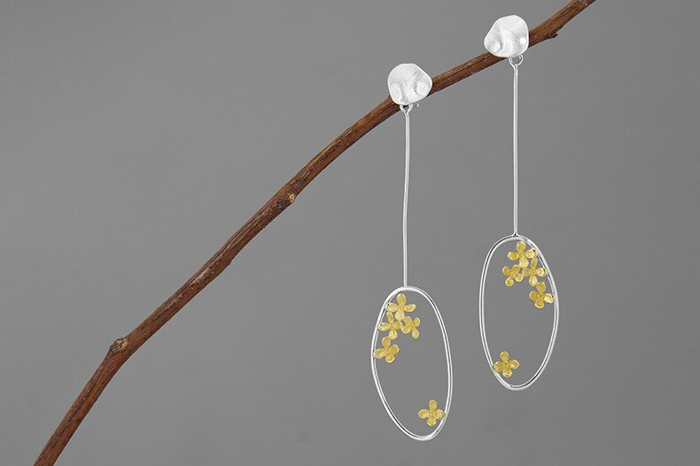 INATURE Elegant Violet Flower 925 Sterling Silver Geometric Irregular Drop Earrings for Women