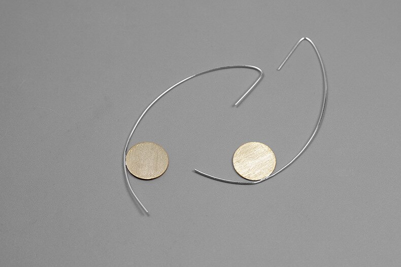INATURE 925 Sterling Silver Geometric Round Wire Drop Earrings For Women Fashion Jewelry Party Gift
