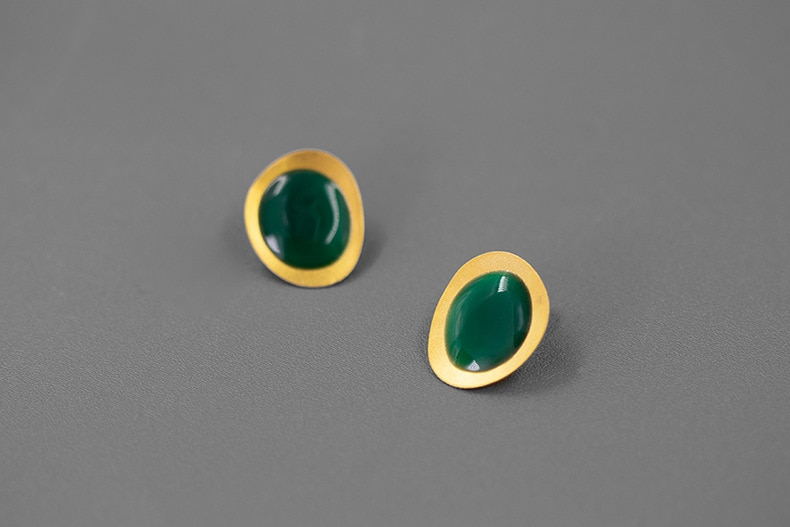 INATURE New Fashion Simple 925 Sterling Silver Enamel Geometric Stud Earrings Party Jewelry