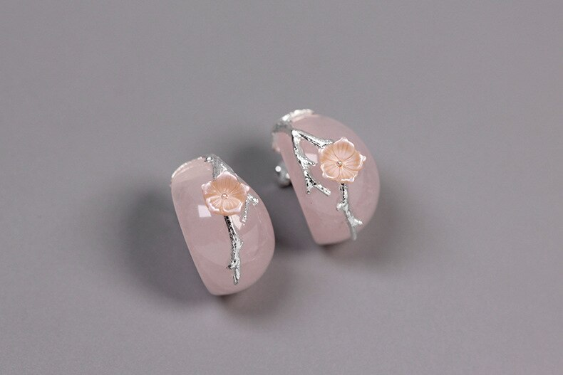 INATURE 925 Sterling Silver Jewelry Natural Rose Quartz Flower Stud Earrings for Women Party