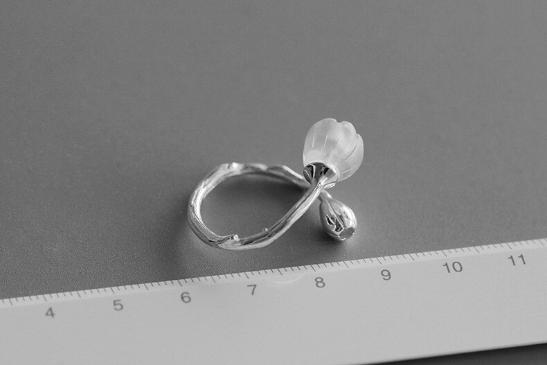 INATURE Natural Crystal Flower Branch Opening Adjustable Rings for Women 925 Sterling Silver Jewelry