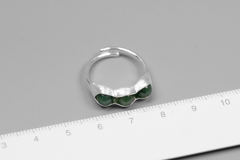 INATURE 925 Sterling Silver Natural Aventurine Pea Pod Stone Rings for Women Wedding Jewelry Adjustable Ring