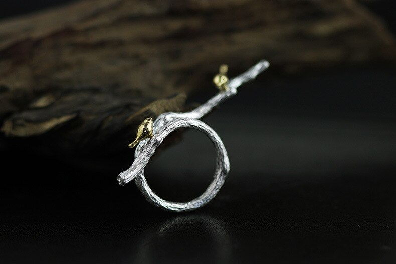 INATURE 925 Sterling Silver Cute Bird on Branch Open Rings for Women Jewelry