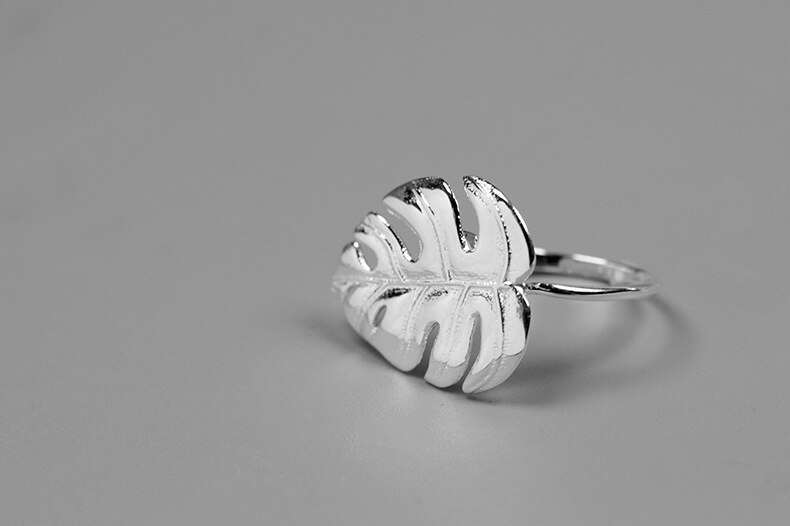 INATURE 925 Sterling Silver Monstera Leaf Rings for Women Fashion Statement Jewelry Open Ring