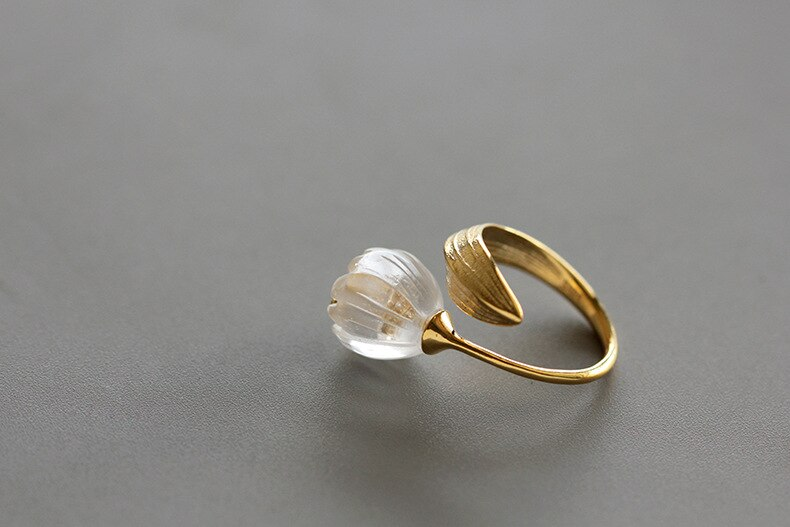 INATURE Natural Crystal Lily of the Valley Flower Rings For Women 925 Sterling Silver Jewelry