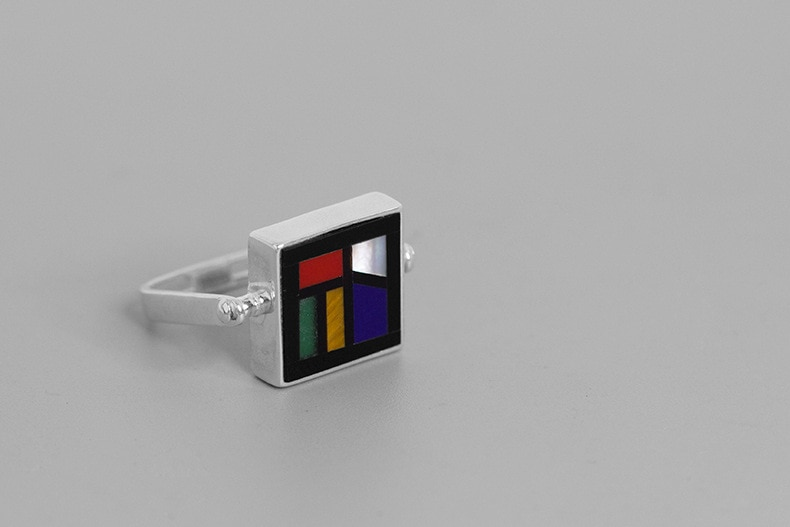 INATURE 925 Sterling Silver Natural Stone Geometric Square Finger Rings for Women Fashion Jewelry Gifts