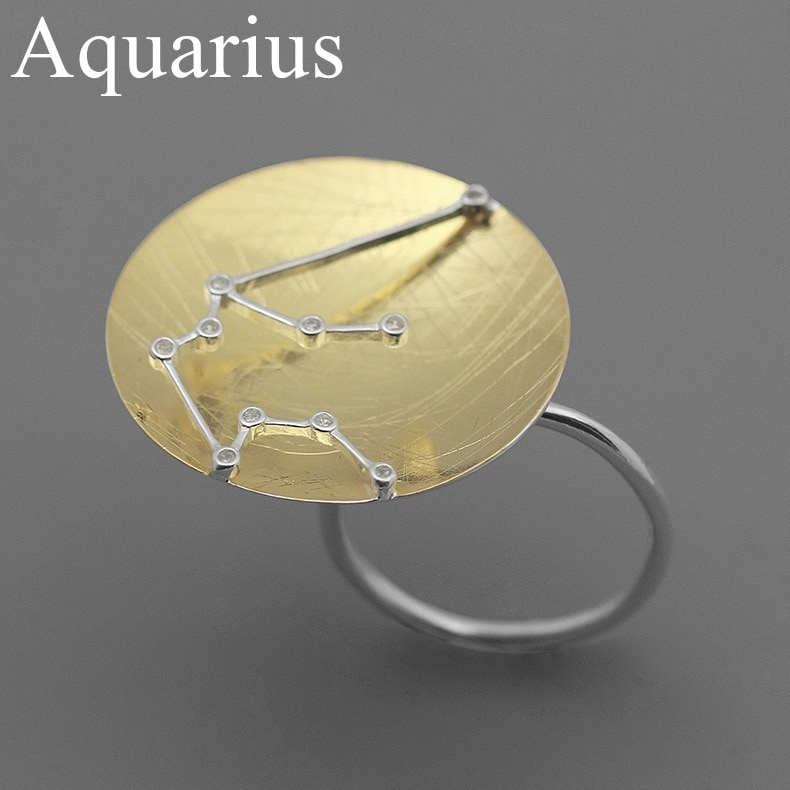 INATURE 925 Sterling Silver Zodiac Sign 12 Constellation Rings For Women Jewelry