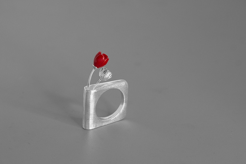 INATURE A Flowering Book 925 Sterling Silver Red Coral Flower Wedding Rings for Women Jewelry