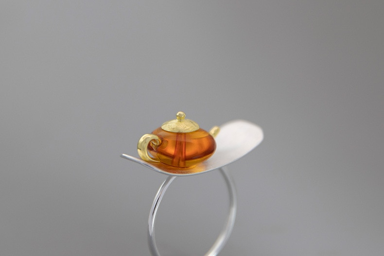 INATURE 925 Sterling Silver Natural Amber Teapot Open Ring For Women Jewelry