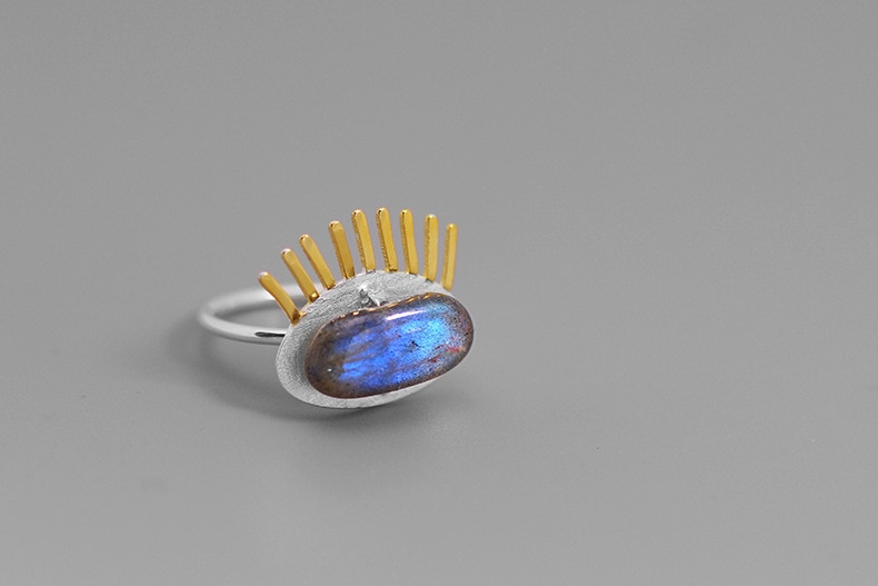 INATURE 925 Sterling Silver Blue Labradorite Eye Ring Fashion Personality Open Finger Rings for Women Jewelry Gift