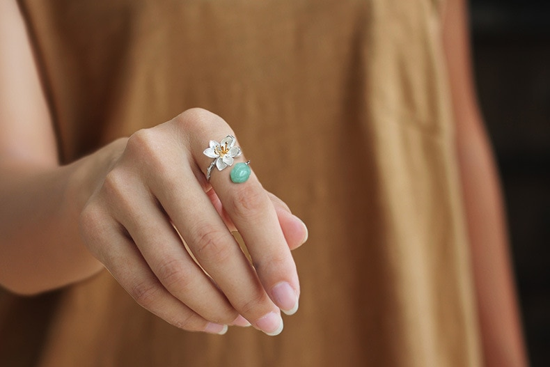 INATURE 925 Sterling Silver Natural Aventurine Lotus Flower Rings for Women Adjustable Ring
