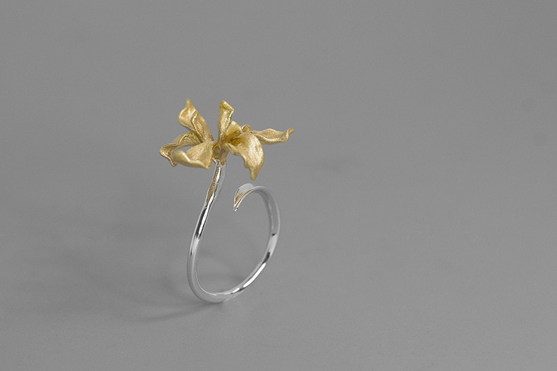 INATURE 925 Sterling Silver Iris Flower Adjustable Rings For Women Fashion Wedding Jewelry