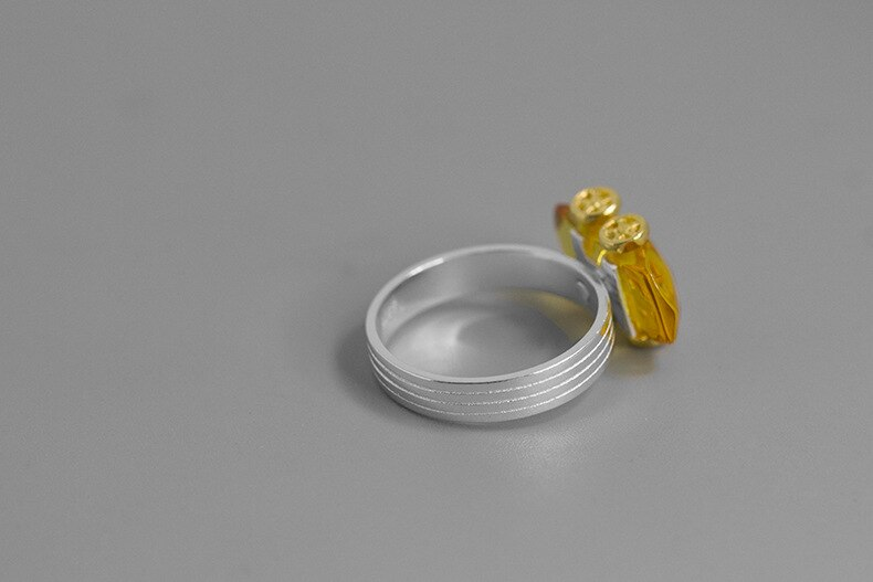 INATURE 925 Sterling Silver Natural Amber Car Finger Rings for Women Jewelry