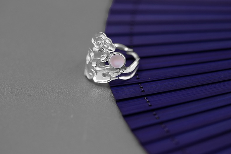 INATURE 925 Sterling Silver Vintage Cloud Moon Opening Adjustable Rings for Women Jewelry Bijoux