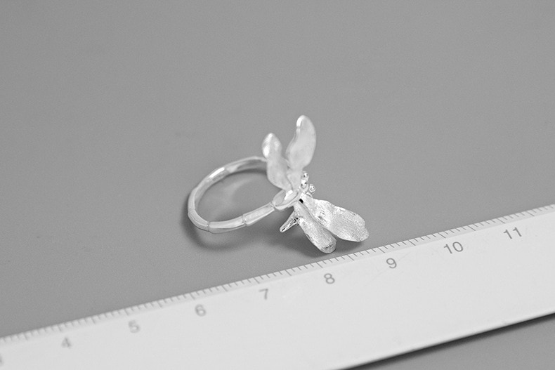 INATURE Vintage 925 Sterling Silver Dragonfly Rings for Women Adjustable Ring Jewelry