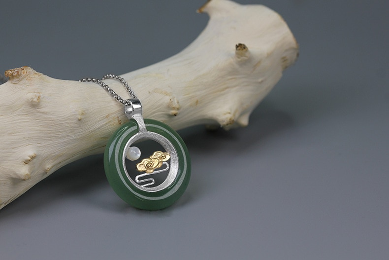 INATURE 925 Sterling Silver Natural Aventurine Shell Cloud and Moon Pendant Necklace For Women Jewelry