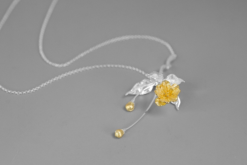 INATURE 925 Sterling Silver Pendant Necklace Women Begonia Flower Leaf Choker Necklaces Jewelry