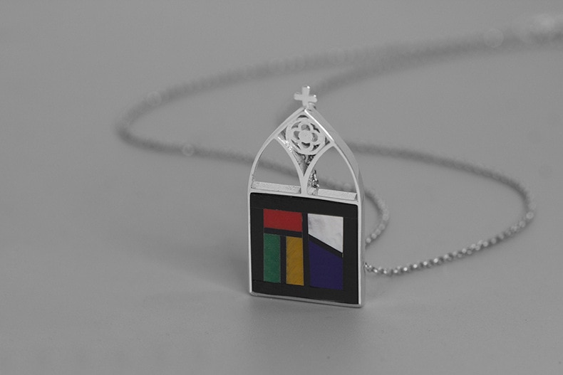 INATURE 925 Sterling Silver Cathedral Glass Window Cross Pendant Necklace Religious Jewelry