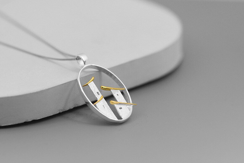 INATURE 925 Sterling Silver Folk House Pendant Necklace For Women Fashion Jewelry