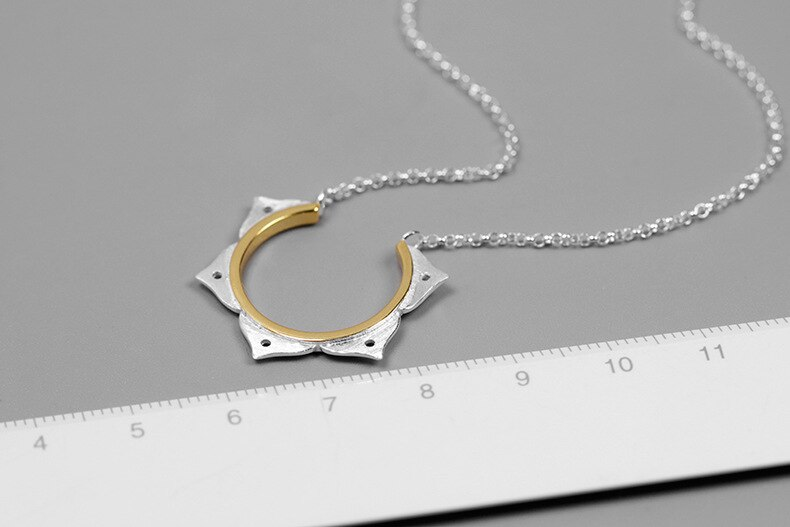 INATURE 925 Sterling Silver Lotus Flower Shaped Pendant Necklace For Women Yoga Jewelry