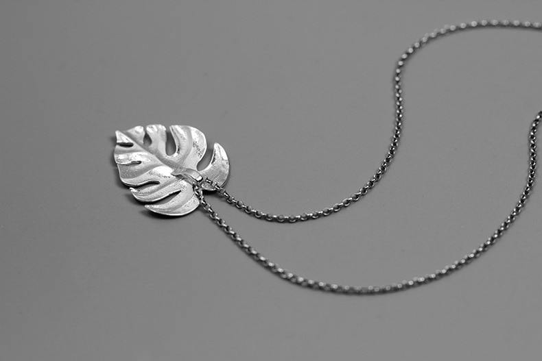 INATURE 925 Sterling Silver Necklaces Fashion Monstera Leaf Leaves Pendant Necklace Women Statement Jewelry
