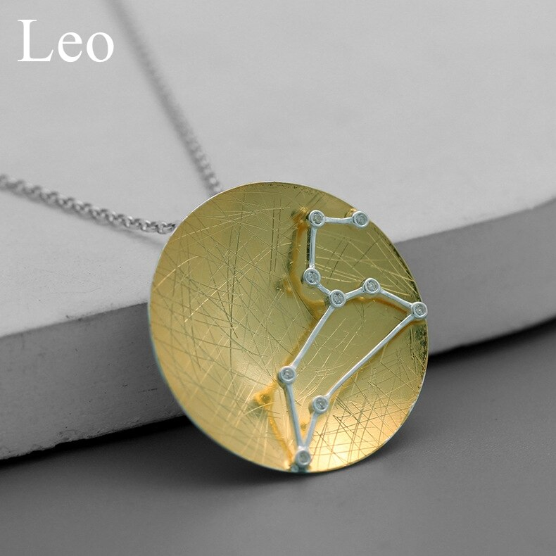 INATURE 925 Sterling Silver 12 Constellation Pendant Necklace Zodiac Sign Necklaces For Women Gifts