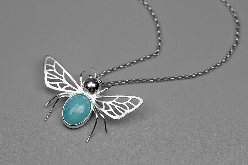 INATURE 925 Sterling Silver Natural Amazonite Bumble Bee Pendants Necklaces for Women Jewelry Party Birthday Gift